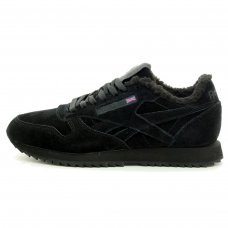 Зимние Reebok Classic All Black With Black Fur