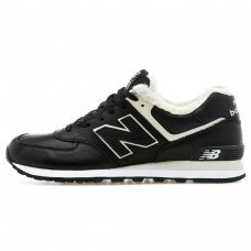 Зимние New Balance 574 Black/White/Black With White Fur