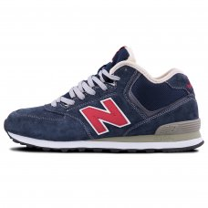 Зимние New Balance 574 High Blue/Red With Fur