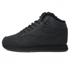 Зимние Reebok Classic Leather Mid Black With Fur
