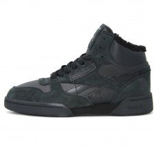 Зимние Reebok Classic Exertion Mid Black/Dark Green With Fur