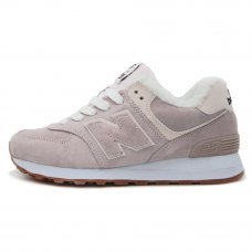 Зимние New Balance 574 Gently Pink With Fur