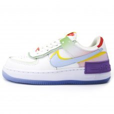 Женские Nike Air Force 1 Shadow White/Diamond Blue/Purple/Yellow