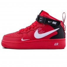 Зимние Nike Air Force 1 Mid '07 LV8 Red With Fur