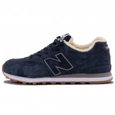 Зимние New Balance 574 Dark Blue With Fur