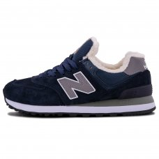 Зимние New Balance 574 Blue/Gray With Fur