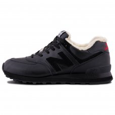 Зимние New Balance 574 All Black With Fur
