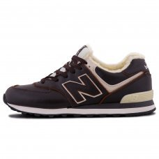 Зимние New Balance 574 Dark Brown/White With Fur