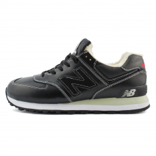 Зимние New Balance 574 Black/White With White Fur