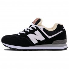 Зимние New Balance 574 Black With White Fur