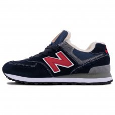 Зимние New Balance 574 Red/Blue With Fur