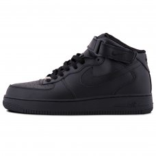 Зимние Nike Air Force 1 Mid All Black With Fur